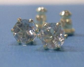 Aquamarine Earrings - Aquamarine & Sterling Silver Post Earrings - March Birthstone Earrings