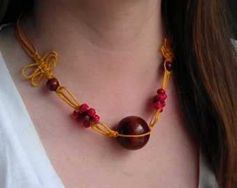 Bright and Colourful Macramé and Wood Bead Necklace