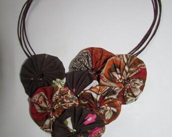 DIY yo-yo Bib Necklace Kit in Browns