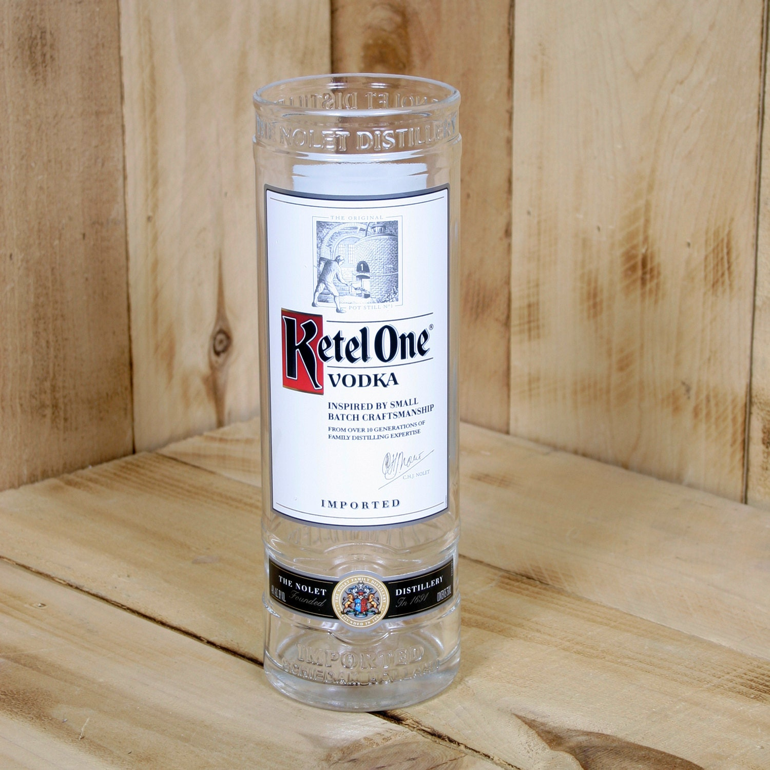 Upcycled ketel one vodka vase made from a bottle for Alcohol bottles made into glasses