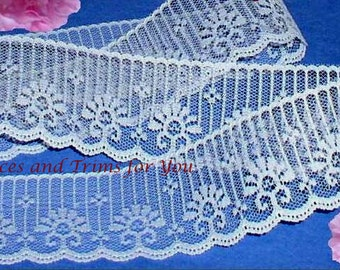 White Lace Trim 10/20 Yards Candlewick Scalloped 2 inch Lot O75B Added Items Ship No Charge