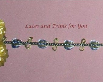 Blue Lace Trim 7/14 Yards Rosebud Chain Braid Trim 3/8 inch Lot R94 Added Items Ship No Charge