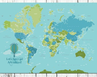Canvas ROLL, 40X60, Travel Artwork, Travel gift, Farewell, Gift for home, Map for kids