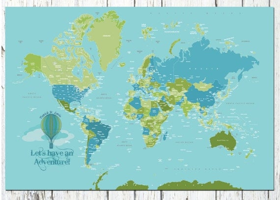 World Map Poster Country Names 24X36 Travel Artwork Travel