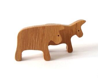 Wood Ark Animals Cow Bull Miniature Toys Noah's Ark Farm Play Set Hand Cut Scroll Saw