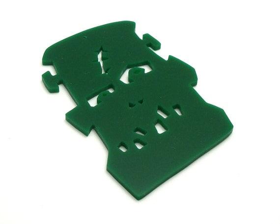 Halloween Ornament Frankenstein Monster Decoration Green Hand Cut Acrylic