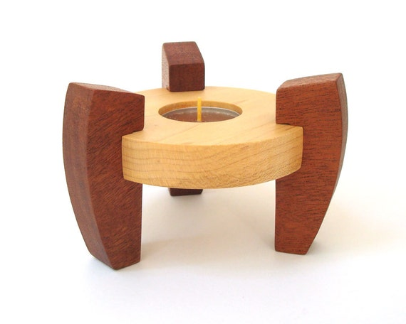 Simple Wood Modern Style Tea Light Candle Holder Maple Mahogany Hand Cut Scroll Saw