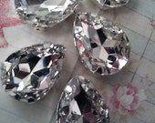 8 Pieces of   Vintage Pear Shaped Czech Crystal Clear Glass Rhinestone  with Silver Prong  Sew on Setting. 10 mm x 14 mm