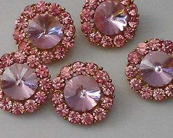 10 Pieces Rose Pink   Rhinestone Gold Metal Buttons  18 MM