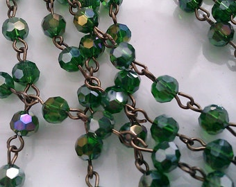 36 inches Rosary Chain of 6 mm Faceted Round AB Emerald  Green  Glass Beads  with Antique Brass  Links