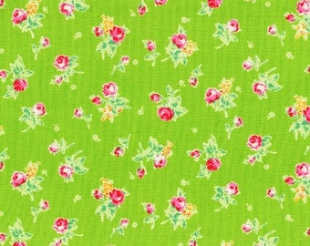 Flower Sugar - Tossed Roses in Green from Lecien Fabrics