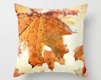 Pillow Cover, Sugar Coated Maples, Tea Stained, Decorative Throw Pillow Cover, fPOE, 16x16, 18x18, 20x20