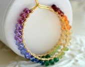 Reserved - Rainbow Earrings, Colorful Hoops, Bright Color Gemstones, Wire Wrapped Gold Jewelry, Free Shipping