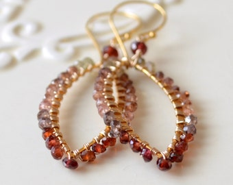 Tundra Sapphire Earrings, Genuine Gemstones, Wire Wrapped Marquise, Autumn Colors, Rich Red Brown, Gold Vermeil Jewelry, Free Shipping