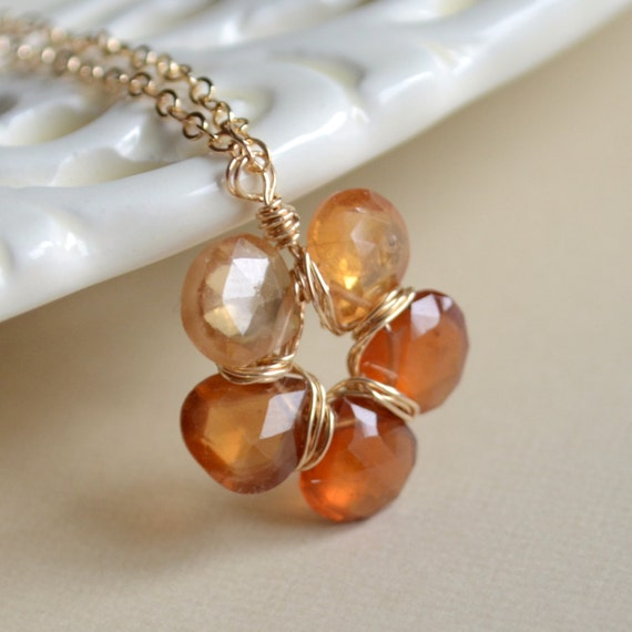 hessonite garnet necklace autumn jewelry burnt by livjewellery