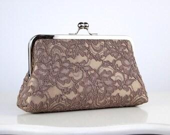 Silk Lace Clutch in Mocha and Beige or Dusty Pink, wedding clutch, wedding bag, bridesmaid clutch, Bridal clutch