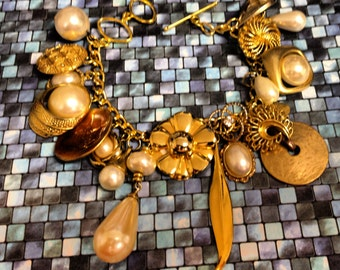 Recycled/Upcycled Gold/ Pearl  Charm Bracelet