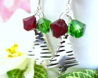 Christmas tree sterling silver earrings, green and red Christmas tree earrings, Swarovski Christmas tree sterling silver scribble earrings