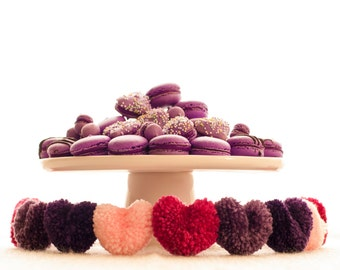 Heart Yarn Pom Pom Garland | Purple Heart Pompom | Party Decor | Banner | Heart Bunting | Photo Props | Shades of Purple | Heather's Heart