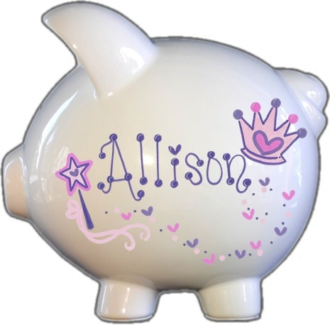 Personalized piggy bank with princess design white hot for How to paint a ceramic piggy bank