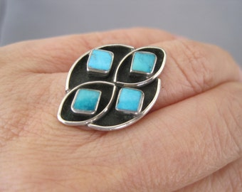 Vintage Sterling Turquoise Diamond Shape Cluster Zuni Ring