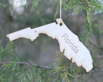 Natural Wood Florida State Ornament