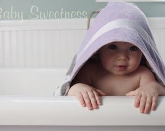 Baby Girl Hooded Towel - Monogrammed Towel -  Toddler Towel - Moroccan Print -  Lavender Purple Grey - Baby Hoodie - Personalized Towel
