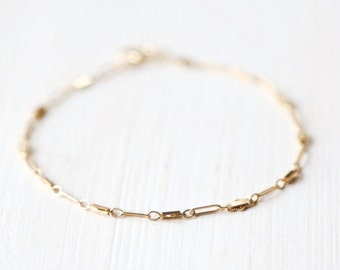14K Gold Shimmering Bracelet - simple everyday minimal gold jewelry