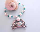 Silver Beach Bracelet - Shells and Crab with Pearl - Beach Wedding