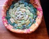 Moss and orange woven batik fabric basket