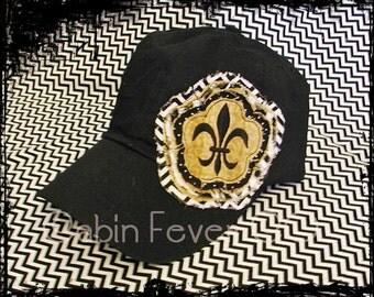 Baseball Cap, Ladies Hat, Fleur de Lis Frayed Flower on Black Baseball Cap - Adult, One Size Fits Most