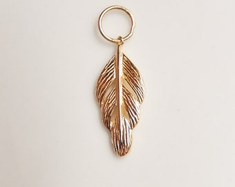 Gold Vermeil feather charm  gold plated over sterling silver charm (21x9mm)