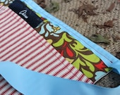 Garden Tool Belt (Brown floral with red and white ticking fabric)