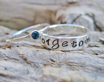 Gemstone Personalized Class Ring Set Sterling Silver Stacking Bands 30+ Gemstone Choices Go Greek and Add Your Sorority