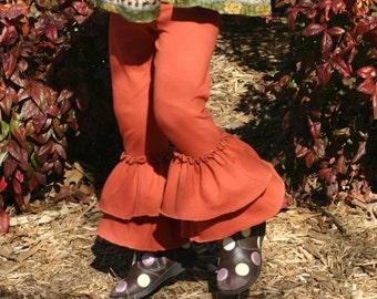 rust orange brown double ruffle knit leggings sizes 12m - 14 girls