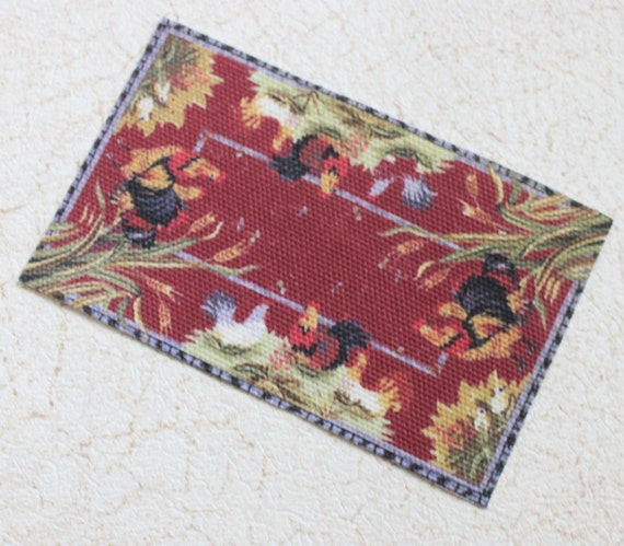 Dollhouse Miniature Rug French Country Roosters In Red One