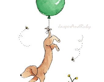 Nursery Art, Neutral Nursery Art, Dachshund with Green Balloon Print, Nursery Wall Art Girl Nursery Art Boy Nursery Art Puppy Nursery Art