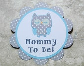 Owl Theme polka dot Button Pin- grey polka dot and baby blue- for Baby Shower or Birthday Party (Quantity 1)