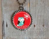 Winter Owl and Snowflake Bezel Necklace (CACCC5 - Aqua, Red, White, Brown, Christmas) - Bezel Pendant with Chain