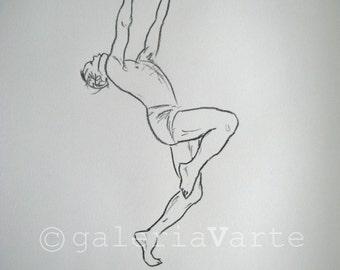 original charcoal drawing  - Modern Dance - europeanstreetteam