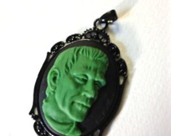 Green Frankenstein cameo necklace