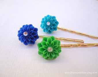 Cabochon hair clips - Cobalt, Light blue, Green mums resin with rhinestone trio cool hue colors decorative hair accessories TREASURY ITEM