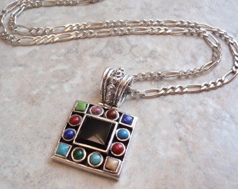 Multi Stone Necklace Square Turquoise Lapis Rhodonite Onyx Vintage 130603