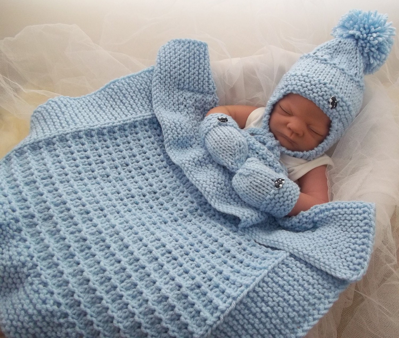 450 Knitting Stitches Free Download : Baby Knitting Pattern Chunky Baby Pram Blanket, Hat & Mittens - Easy Knit...