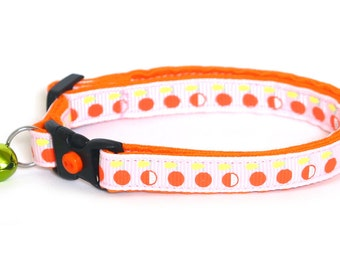 Cat Collar - Oranges on Pink - Small Cat / Kitten Size or Large / Standard Size Collar