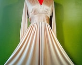 Vintage 70s GOLD Full Skirt DISCO Dress with Plunging Neckline M L