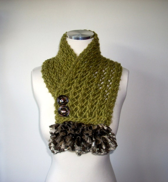 Big Winter Sale, Olive green scarf, hand knitted scarf, winter scarf, neck warmer , gift for mom girl