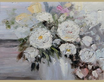 ORIGINAL Oil Painting  50 Shades of Grey 23 X 30 Palette Knife Texture Colorful Flowers White Roses Grey  ART by Marchella