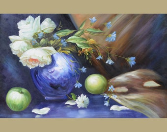 ORIGINAL Oil Painting When The Night Comes 23 x 36 Flowers Realism Blue Vase Apples Peonies White  Brown   ART By MARCHELLA