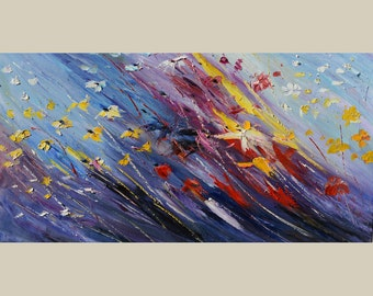 ORIGINAL Oil Painting The Love Flight 23 x 45 Flowers Palette Knife Brush White Bright Colorful Purple Textured Blue Yellow ART By MARCHELLA
